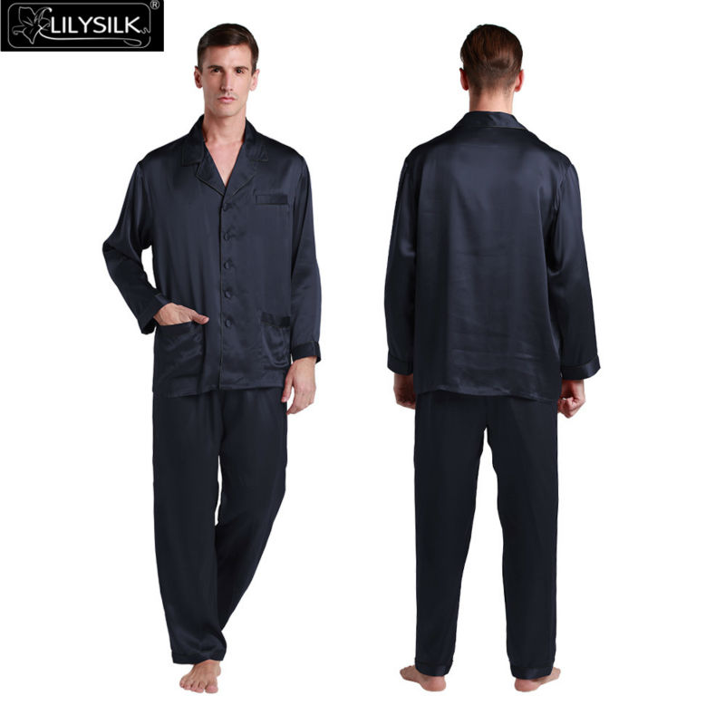 Lilysilk Pure Pyjama Homme Mens Reine Silk Satin Pajamas Set 22 Momme Long Sleeve Elastic Waist Classic Luxurious Sleepwear(China (Mainland))