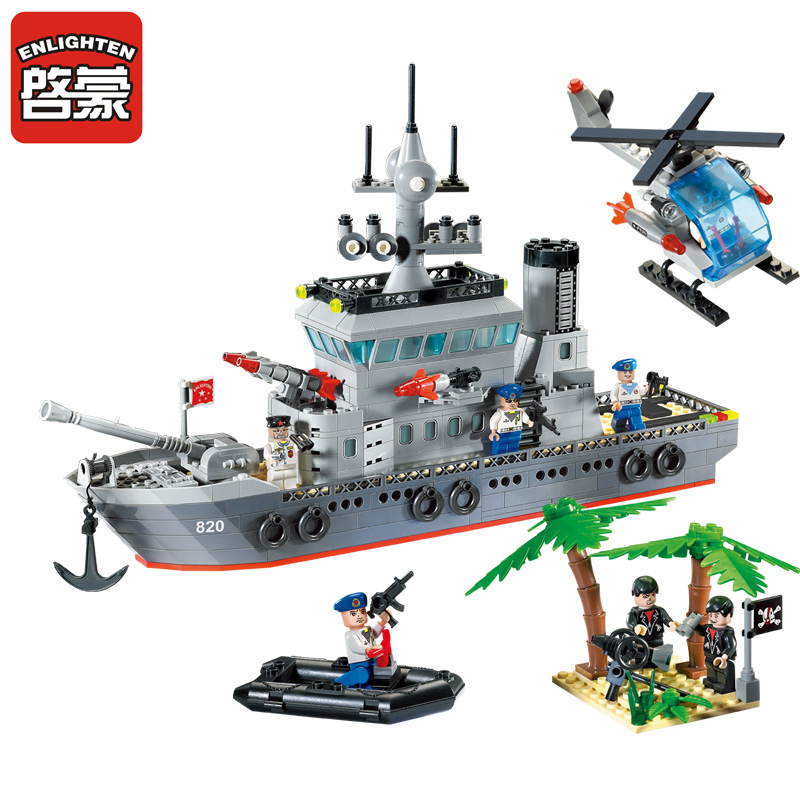Enlighten 614Pcs Military Series Toys Navy Frigate Ship Assembling Building Block Set Minifigures Compatible With Le-go(China (Mainland))