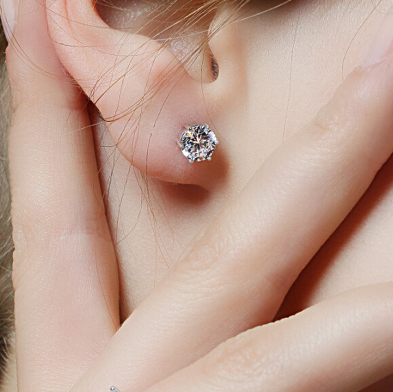 1 Pair 925 sterling silver ear stud earing crystal with stone for women and men Fashion Luxury Rhinestone earrings free shipping<br><br>Aliexpress