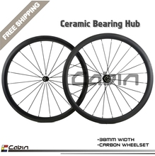 Buy High grade,Super light 38mm clincher/tubular carbon wheel, 700C road bike wheels, 25mm width Ceramic bearing hubs for $450.00 in AliExpress store