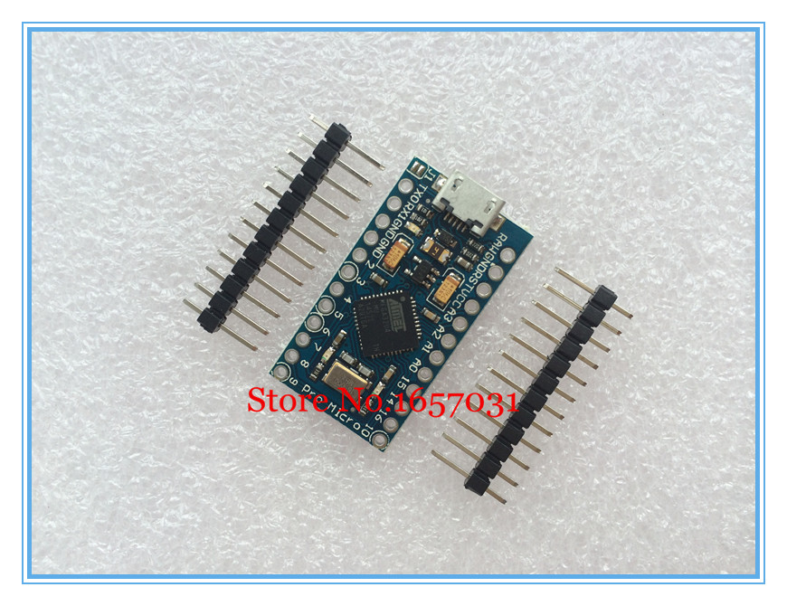 2pcs/lot Pro Micro for arduino ATmega32U4 5V/16MHz Module with 2 row pin header For Leonardo in stock . best quality(China (Mainland))
