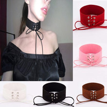 Hot Sell Bijoux Sexy Harajuku Lace Up Women Jewelry Punk Gothic bowknot Choker Necklace Vintage Velvet Leather Collares Anime(China (Mainland))