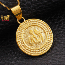JFY Classic Allah Pendant Necklace Wholesale/18K Real Gold Plated Crystal Circle Shape Arabic Jewelry Muslim For Unisex