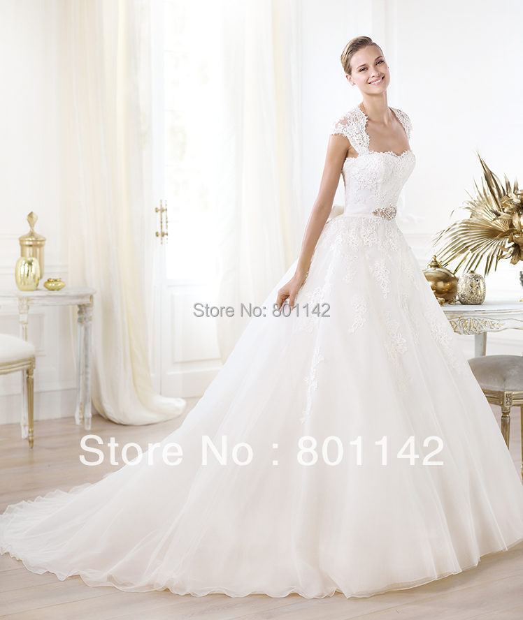 2015 Modern Style Customed Cap Sleeves Pleated Appliques Pageant Bridal Gowns Dresses Wedding - Dressonline store