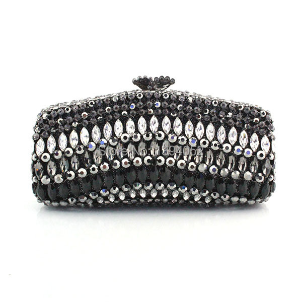 Fashion Women Clutch Bag Handmade Bag Crystal With Black Color(China (Mainland))