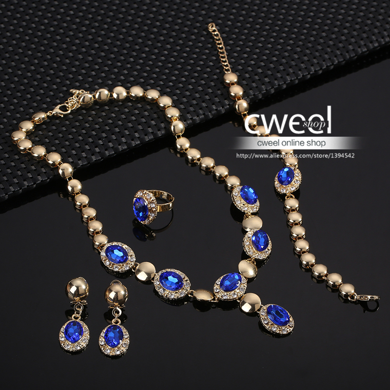 Sapphire Beads Collares Jewelry Sets For Women Fine Accessories Wedding Bridal Pendant Statement CZ Diamond Necklace