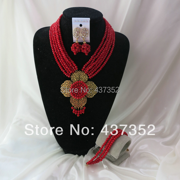 New Fashion Nigerian Wedding African Beads Red Flower Drop Necklaces Bracelet Earrings Jewelry Set CPS-751<br><br>Aliexpress