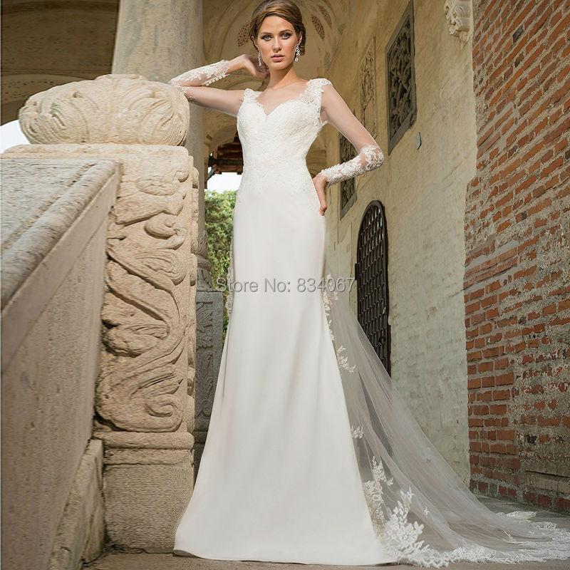 Buy trumpet long sleeves wedding dress for Trumpet wedding dress with long train