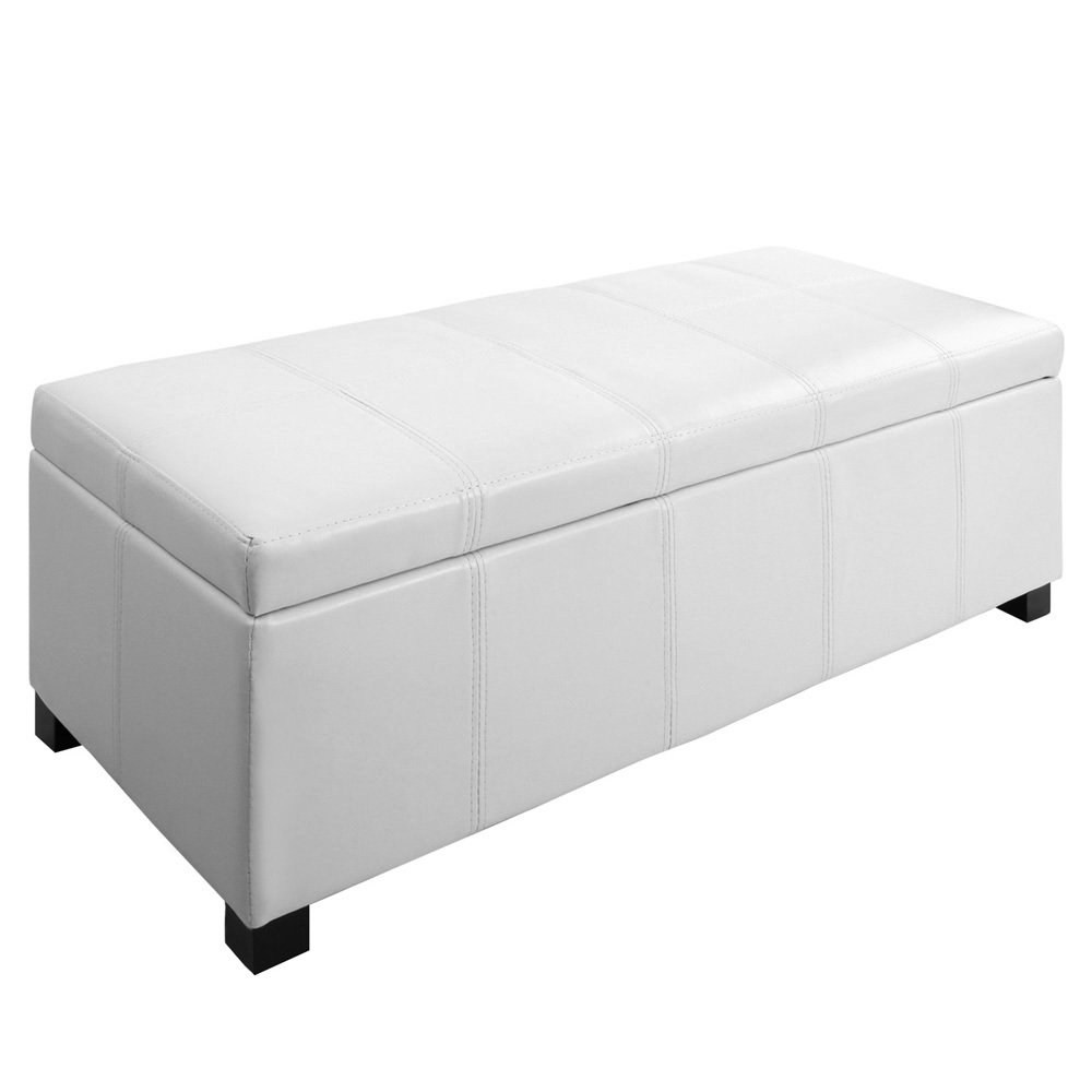 large ottoman pu leather chest storage box foot stool white in stools ottomans from furniture. Black Bedroom Furniture Sets. Home Design Ideas