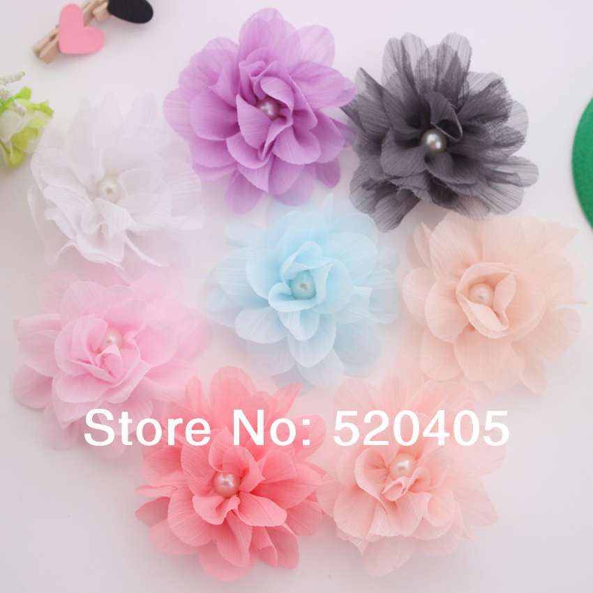 50PCS Wholesae Ballerina Flower 3Inch Silk Lace Layered Flowers with pearl center Tulle Puff Hair flowers DIY(China (Mainland))