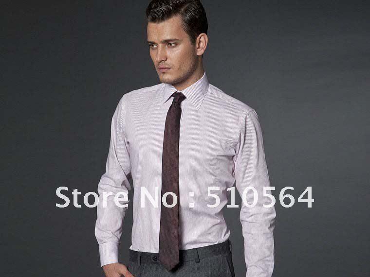 Custom Made Men Cotton Shirt Business Casual Men Slim: light purple dress shirt men