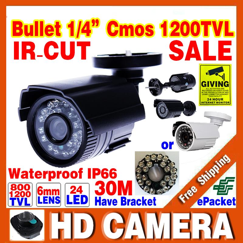 Big Sale 1/4cmos 1200TVL small Outdoor Waterproof IP66 CCTV Security Color Mini HD Camera 24led IR infrared Night Vision Bracket(China (Mainland))