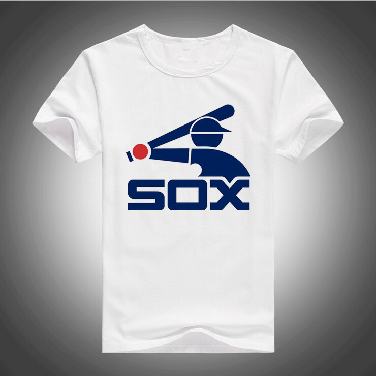 2017 New Arrival Chicago T-Shirts Spring Short Sleeve White Sox Tees Shirt 100% Cotton free shipping(China (Mainland))