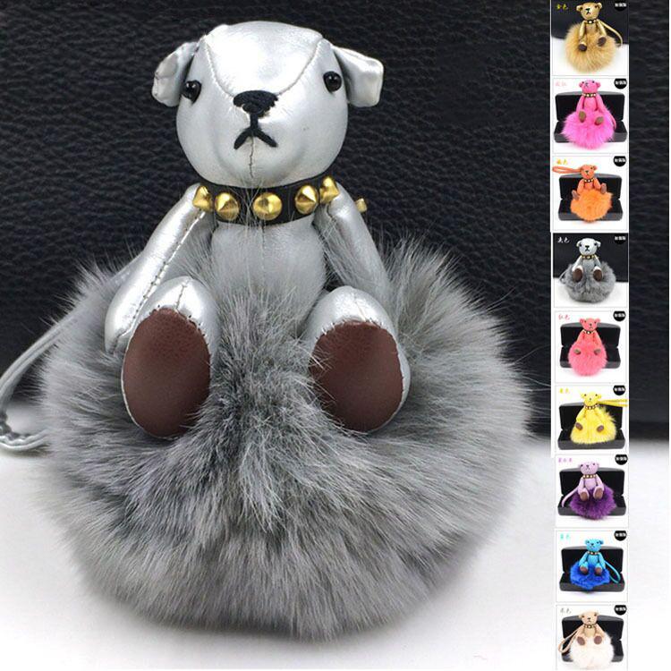 2015 2015 Real Leather Keychains Real Fox /Rabbit Fur Monster Doll Keychain Charm Golf Bear Bag pendant Strap Car Key rings 15 C(China (Mainland))