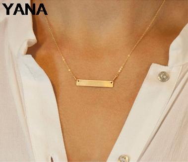 YANA Jewelry 2015 New Cute Short Strip necklace gold Plated Charm Infinity Pendants Necklaces ChainS Wedding