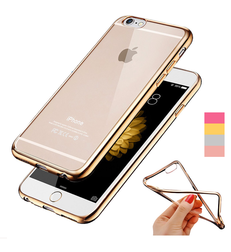 0.15mm Ultra Thin ! Rose Gold Plating Crystal Clear Soft Case for Apple iphone 6 6S Plus Covers Transparent Hybrid Cover(China (Mainland))