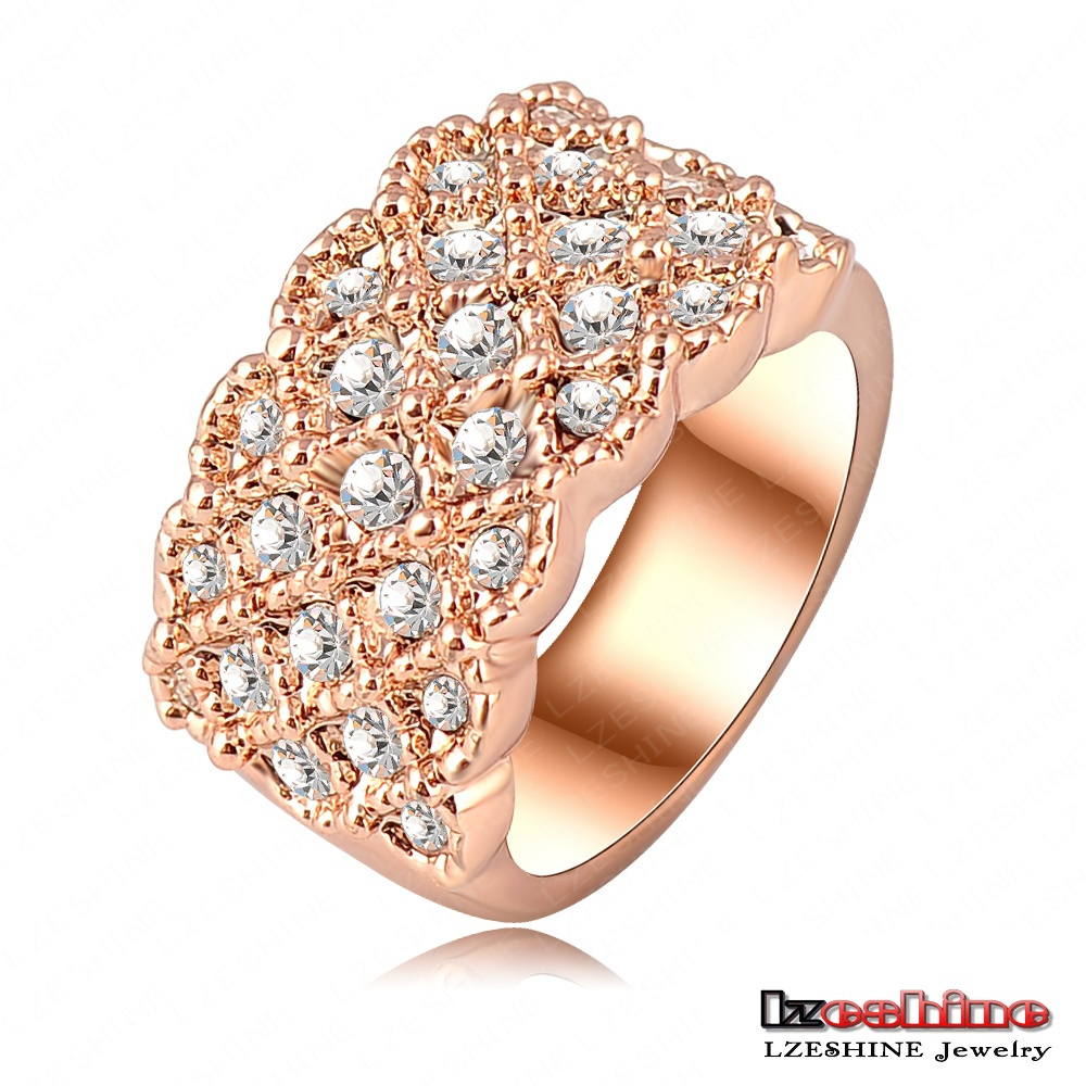 Unique Luxury 18K Rose Gold Plating Engagement Rings Saphire Rings With Austrian Crystals Charm Jewelry Anelli