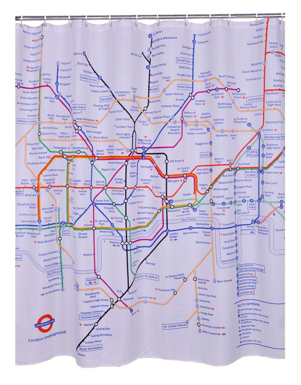 Witte Ladder Badkamer ~ Badkamer producten 100% polyester stof gedrukt london subway kaart