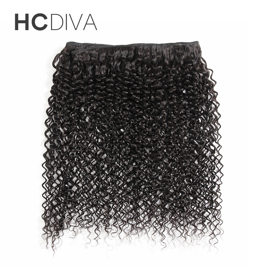 HCDIVA 1 Bundles Peruvian Kinky Curly Hair Extensions Bundles Machine Double Weft 100% Non-remy Human Hair Weave Natural Color