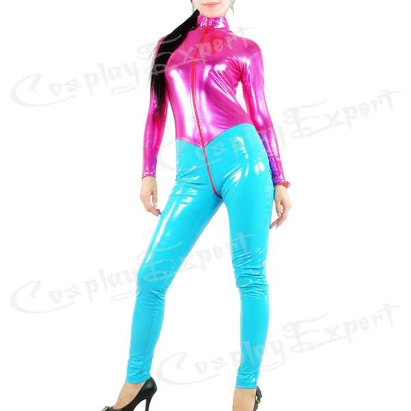 Free Shipping DHL Custom Made Adult Sexy Full Body Fuchsia and Blue PVC Zentai Catsuit Metallic Zentai Suit No HoodОдежда и ак�е��уары<br><br><br>Aliexpress