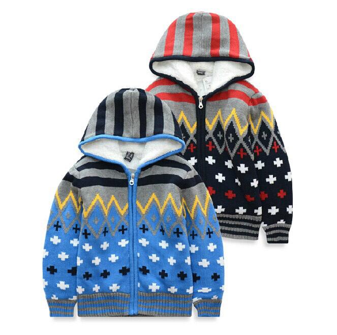Wholesale 2015 autumn winter sweater coat for children boys plus villous cotton coat kids clothing sweatercoat solid color(China (Mainland))