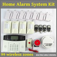 Free Shipping Wireless GSM Home House Burglar Alarm System Kit + Pir Smoke Door Sensor Panic Intercom security home kits (China (Mainland))