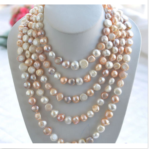Wedding Woman AA 78 6-7MM Freshwater Colorful Pearl Necklace Real Natural Baroque Pearl Handmade 200cm Free Shipping<br><br>Aliexpress