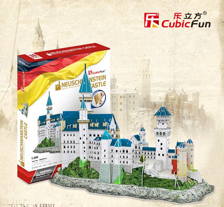 Cubicfun 3D Puzzle 98pcs New Swan Stone Neuschwanstein Castle 41.5*18*33.5CM Germany Building MC062H-2(China (Mainland))