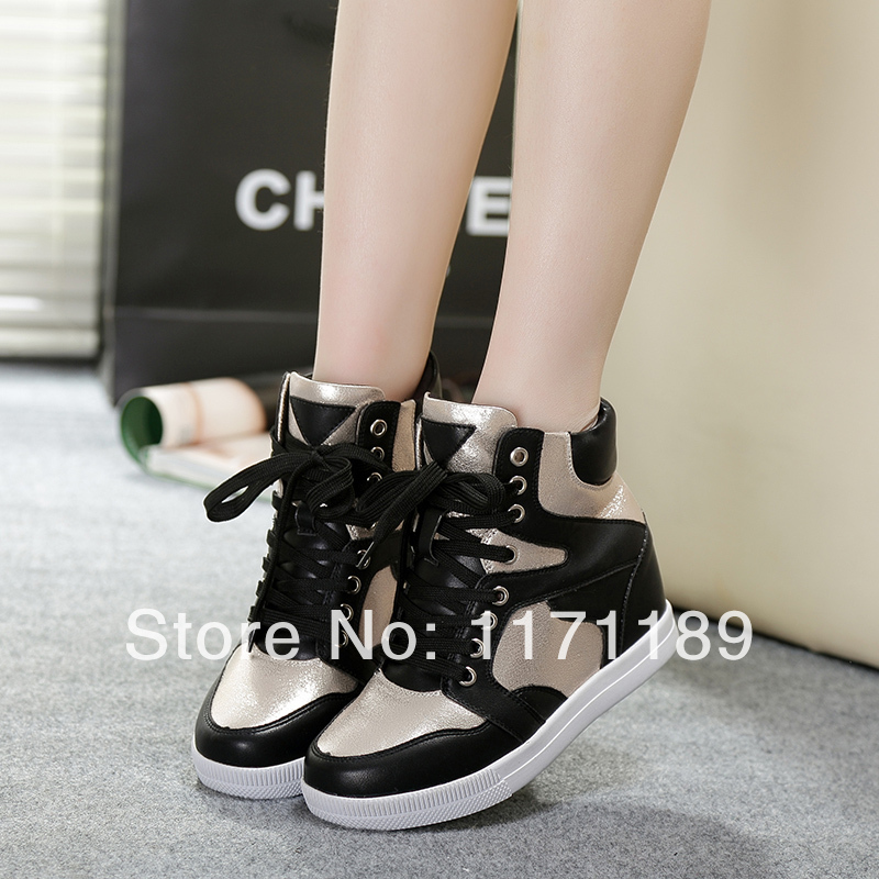 2014 new s wedge sneakers high heels lace up