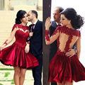 Burgundy Long Sleeves Short Prom Dress 2017 Custom Made Prom Gown Dresses