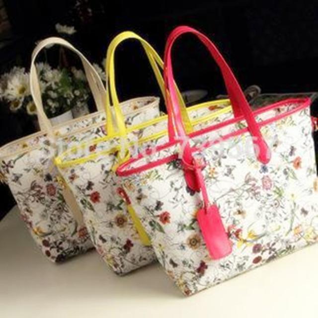 Три цвета ЖЕНЩИНЫ кожаные сумки 2016 новых женщин сцепления плеча сумку старинные мешок печати цветок Напульсники сумка
