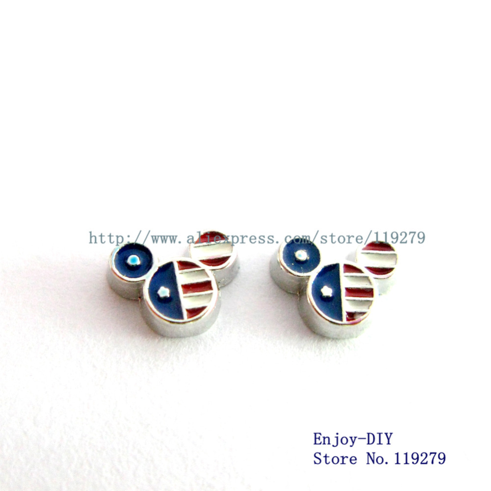 USA mouse head Floating charms Free shipping wholesales 50pcs FC834 DIY Accessory Fit for Floating Lockets(China (Mainland))