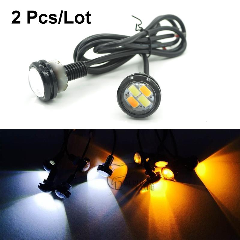 2pcs/lot New Car styling 23mm 5630 LED DRL Eagle Eye Daytime runing lights Warning Fog lights with turning signal(China (Mainland))