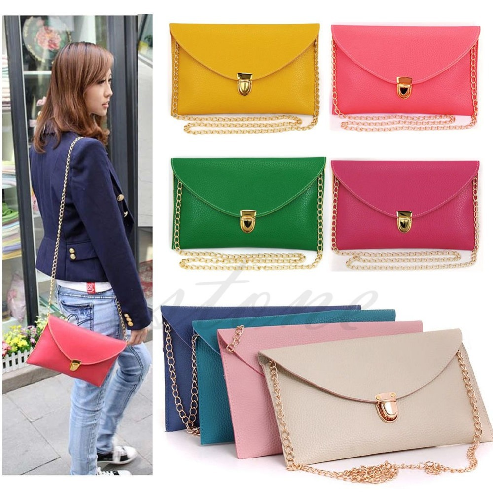 U119 Free Shipping Womens Envelope Clutch Chain Purse Lady Handbag Tote Shoulder Hand Bag(China (Mainland))