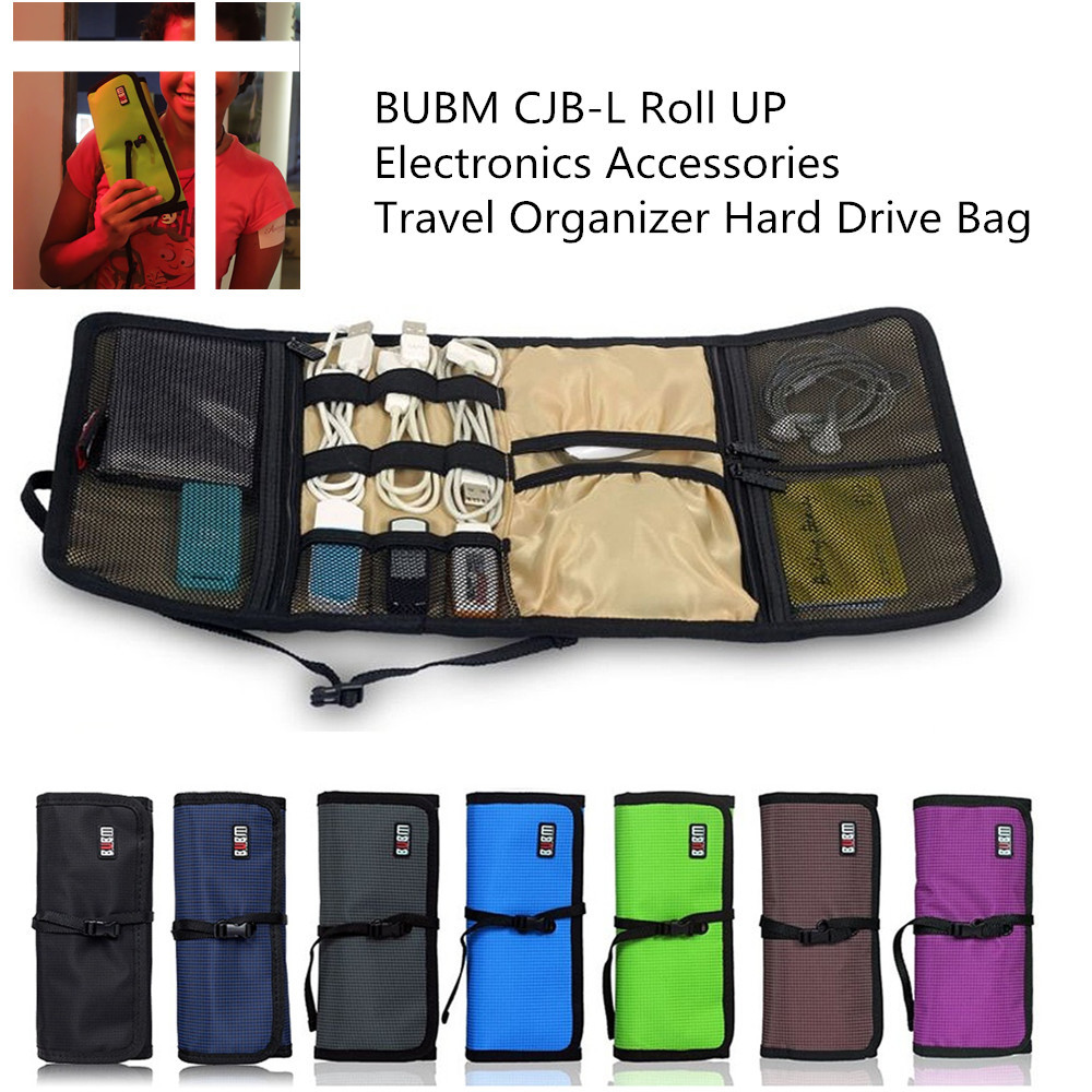 BUBM CJB-L Roll UP Electronics Accessories Travel Winder earphone cable Organizer Hard Drive Bag Stable Cell Phone Cable Bag(China (Mainland))