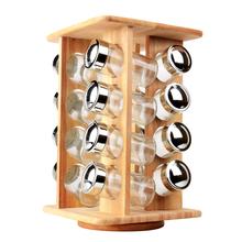 Деревянные револьверный специй с 16 шт. стеклянные банки кухня вращающихся ароматизатор инструмент для специй солт-перец сахар