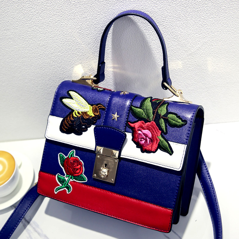 top-handle bags leather handbag women famous brand flower bee embroidered bags star tiger head crossbody bag luxury tote G sac(China (Mainland))