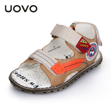 UOVO 2016 Boys Leather Sandals for Summer Children Antiskid Velco Sandals Top Quality Kids Plain Shoes for little boys 2 colors(China (Mainland))
