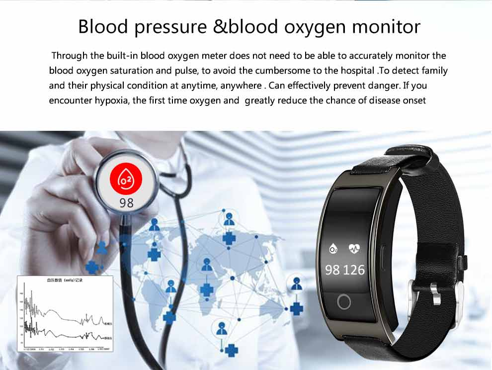 image for CK11S Smart Band Blood Pressure Heart Rate Monitor Wrist Watch Intelli
