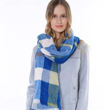 High Quality Blue font b Tartan b font Vintage British Style Big Casual Soft Warm Cashmere