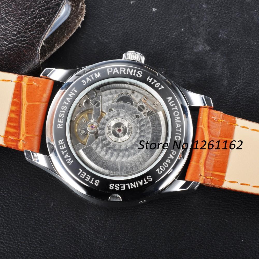 Бесплатная доставка 43 мм Parnis Полит Циферблат Синие Цифры Автоматические мужские Часы PA4316SW