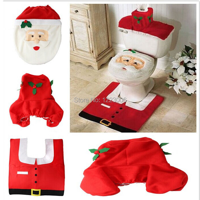 New Year Christmas Decorations Festive Happy XMAS Santa Claus Pattern Toilet Seat Cover and Rug Bathroom 3pcs/Set(China (Mainland))