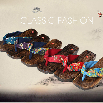 Free Shipping wood sandals 2015 New Fashion Retro Japanese style clogs fashion wooden flip flops slippers Women's clogs slippers