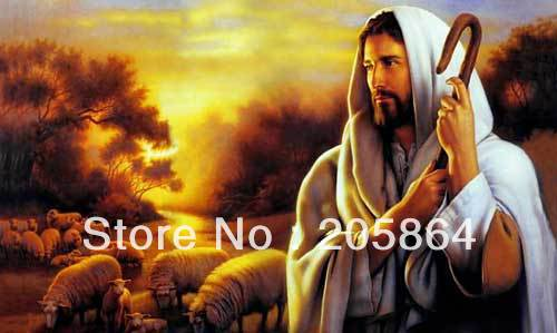 Free shipping small size craft tapestry,religion style fabric decor picture,wall hinging,The shepherd Jesus