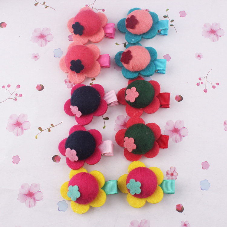New style girl flower hair clips children hair accessories lovely drapery fabric hair clips 4 color choose 5pair=10pcs LBL446(China (Mainland))
