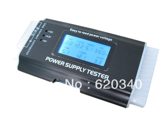 Free shipping III Multifunction Digital LCD PC Computer PC LCD Power Supply Tester ATX/BTX/ITX/TFX 20 24 PIN 4 SATA HDD Testers(China (Mainland))