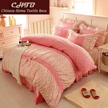 bedding sets princess Korean style bed set linen cute cotton 4pcs Leopard queen king twin size duvet cover bedding-set bowknot(China (Mainland))