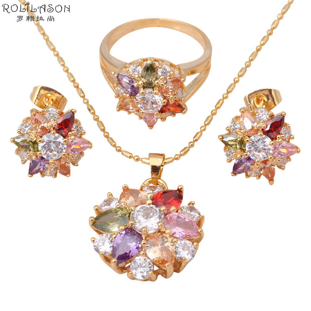 Colorful Necklace Earrings Rings sets Wedding gifts 18K Gold Plated Color Crystal AAA Zirconia Fashion Jewelry Sets JS051 - Jos fan's store