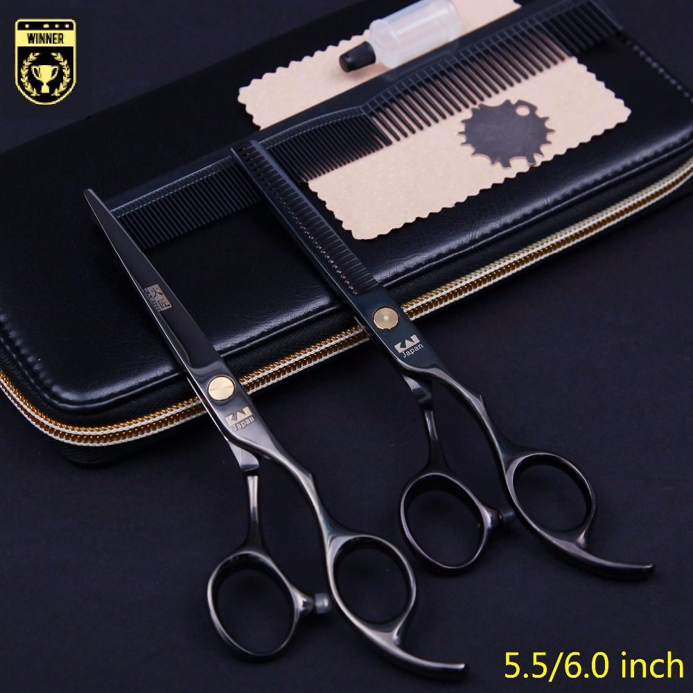 "5.5""/6.0"" Kasho Professional hair scissors hairdressing barber scissors hair cutting shears thinning for hairdresser 2pcs set(China (Mainland))"
