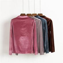 New fashion autumn winter long sleeve shirts women velvet shirts vintage sexy velour tops women casual slim top,MM0147(China (Mainland))